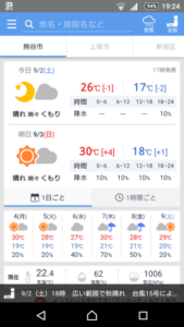 Yahoo!天気 メイン画面