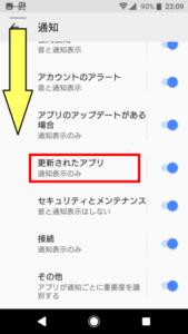 アプリの通知 項目