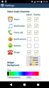 Volume Control Widget 設定の一例