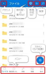OneDrive 画面の見方